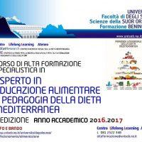 """II Edizione del Corso di perfezionamento in """"Esperto in Educazione alimentare e pedagogia della Dieta Mediterranea"""""""