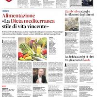 Alimentazione «La Dieta mediterranea stile di vita vincente». Articolo di Francesca Scognamiglio su il Mattino del 14/11/2018