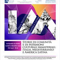 21 dicembre. Tavola rotonda su Storie di comunità e di patrimoni culturali immateriali. Italia, Mediterraneo e America Latina